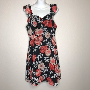 Forever 21 Dress black with red flowers size M EUC